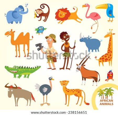 Set funny african animals. Cartoon character. Isolated on white background. Elephant, monkey, lion, flamingo, toucan, rhino, camel, giraffe, crocodile, parrot, cheetah, wildebeest, ostrich, oryx - stock vector