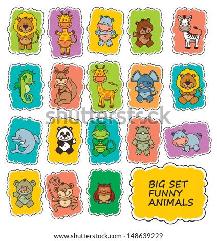 set funny cartoon animals - stock vector