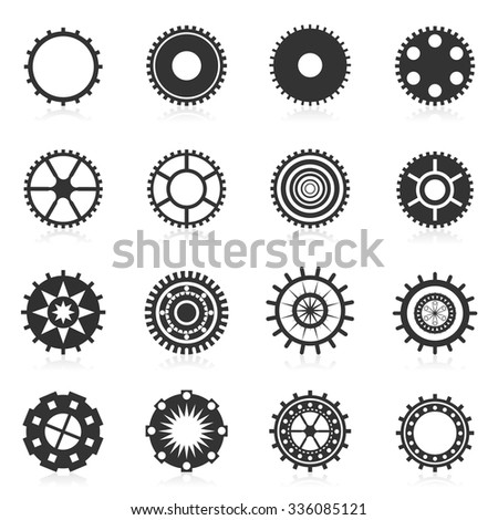 Set gear mechanic dark gray with reflection isolated on a white background vector - stock vector