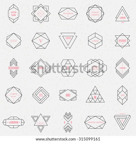 Set geometric signs, labels, and frames. Triangles. Line design elements, vector illustration - stock vector