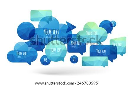 Set geometric speaking bubble - stock vector