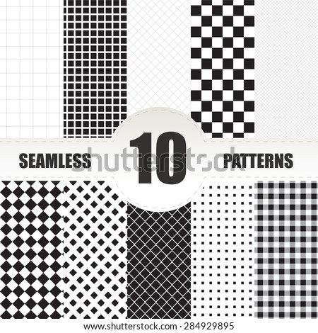 Set geometric vector pattern. Checkered seamless background - stock vector