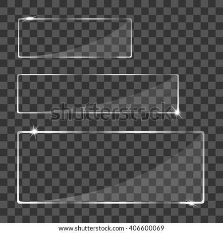 Set glass banners - stock vector