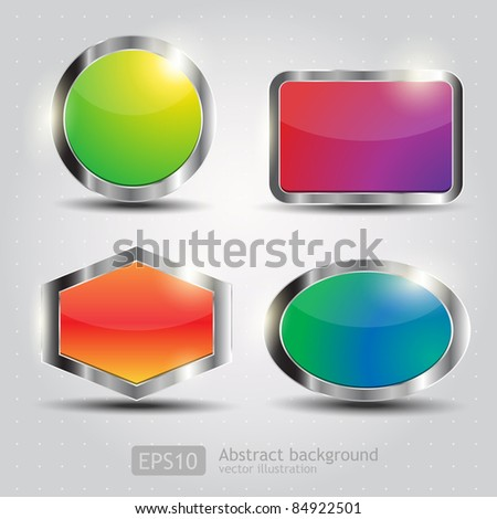 Set Glossy Download Button, icon,speech with shadow and reflections vector - stock vector