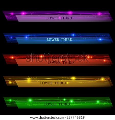 Set glowing banners Lower Third purple, blue, red, yellow and green on a black background. Vector illustration. - stock vector