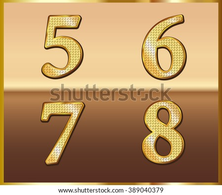 Set Gold Alphabet Design