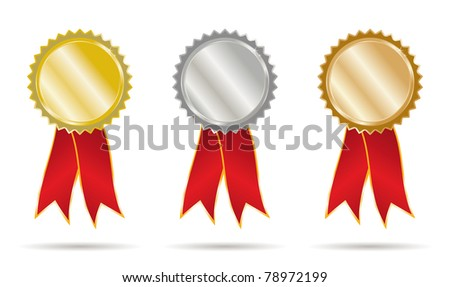 set gold silver and bronce ribbons - stock vector