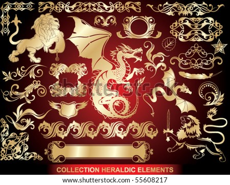 set: golden heraldic elements - stock vector
