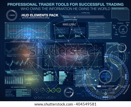 Set graphs and charts. Statistic and data, information infographic. HUD background outer space. infographic elements. futuristic user interface. Business abstract background - stock vector