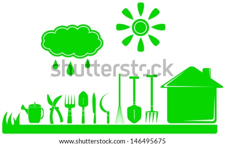 set green garden tools and house, cloud with drop, sun  - stock vector