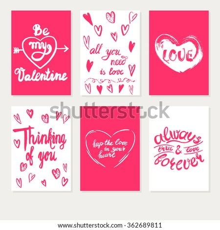 Set Greeting Cards Valentines Day Vector Vector 532090747 – Greeting Cards Valentine