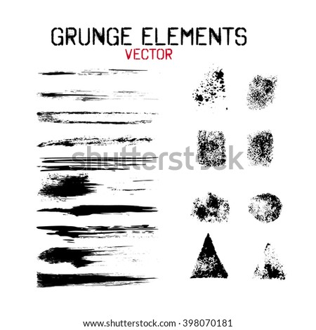 Set grunge  design elements.  Ink stains with various texture, brush stroke. Vector illustration. - stock vector