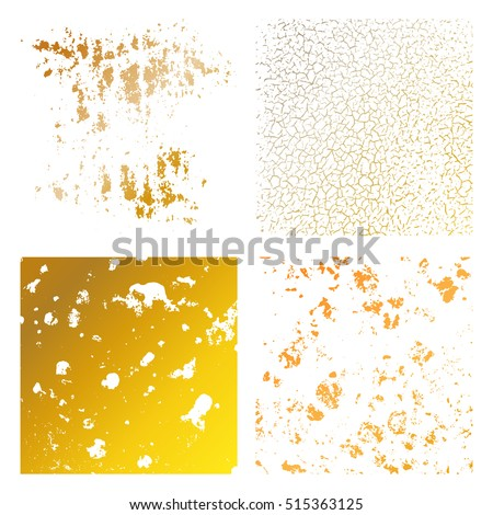 Set Grunge gold Distress Texture. Wall Background.  Vector Illustration. Simply Place illustration over any Object to Create grungy Effect abstract,splattered , dirty,poster for your design.