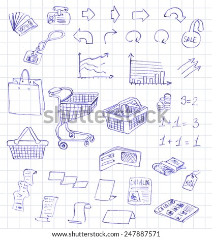 Set hand draw pictogram supermarket services, Shopping Icons