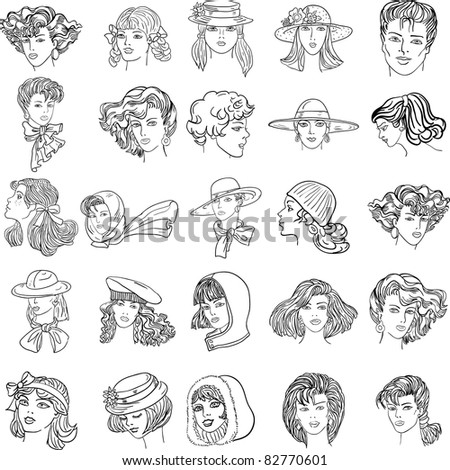 Set hand-drawn fashion model. Vector illustration. Woman's and men face - stock vector