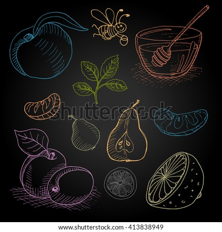 Set hand-drawn food ingredients on chalkboard. Hand drawn vector illustration. Set with elements: fruit, honey, pear, a bee, a spoon for honey, peach, apricot, orange, mint, lemon slice. - stock vector