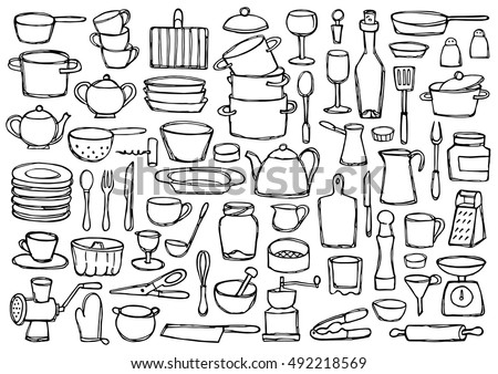 Set hand drawn kitchen doodles. Coloring page. Sketch of kitchen objects and equipment