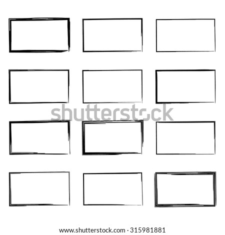 set hand drawn rectangle felttip pen stock vector royalty free