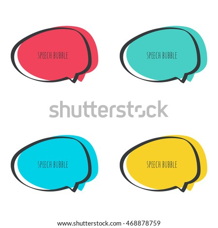 Set hand drawn speech bubble. Vector frame. Text box. Multicolor, red, blue, green, yellow