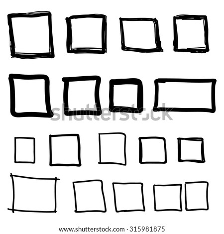 Set hand drawn square, felt-tip pen objects. Text box and frames. - stock vector