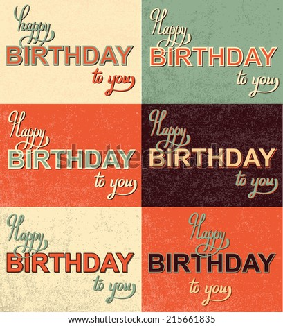 Set happy birthday hand lettering - handmade calligraphy, vector eps8 - stock vector