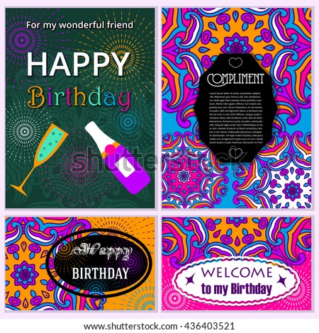Set Happy Birthday vector cards. on decorated background. Happy Birthday template and mandala pattern, brochure, gift certificate, party invitation, congratulation