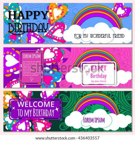 happy birthday gift certificate template - set happy birthday vector cards on vectores en stock