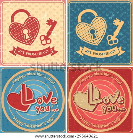 Set Happy Valentine's Day retro cards ornament with a picture of the heart, Vector illustration Eps 10 - stock vector