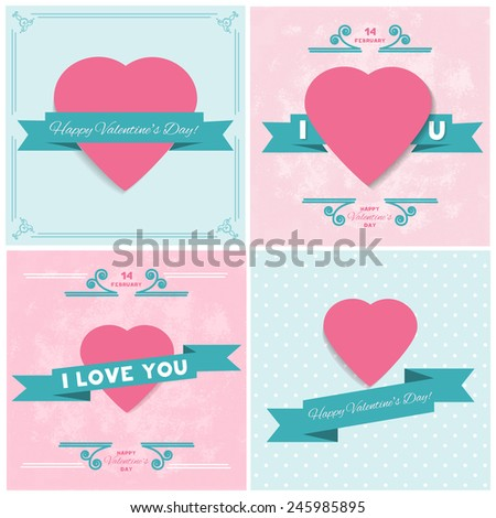 Set Happy Valentines Day cards in flat retro style. Greeting card. Suitable for various designs, invitation and scrapbook. Vector illustration. EPS 10 - stock vector