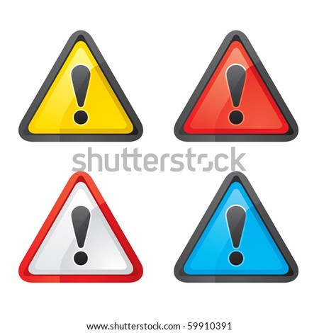 Set Hazard warning attention sign color on a white background - stock vector