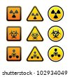 Set hazard warning radioactive symbols - Radiation - Chemical weapon - Biohazard sign - stock photo