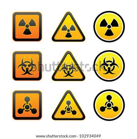 Set hazard warning radioactive symbols - Radiation - Chemical weapon - Biohazard sign - stock vector