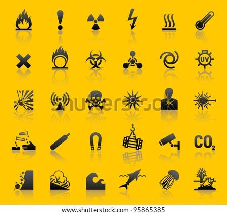Set hazard warning symbols - stock vector