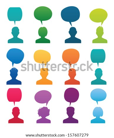 Set Head Silhouette with speech bubble. Colored vector illustration. - stock vector