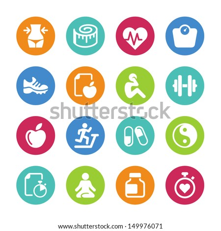 Set health and fitness icons - stock vector