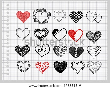 Set hearts drawn by hand on a sheet of paper into the cage - stock vector