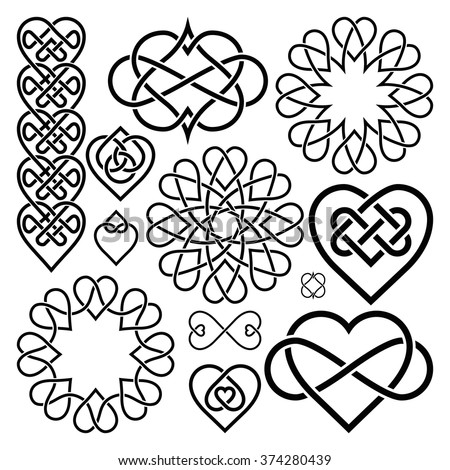 Set Hearts Intertwined in Celtic Knot. Twelve Items - stock vector