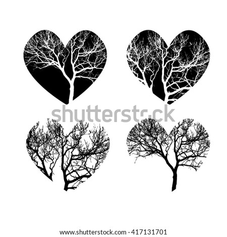 Set hearts symbol of tree branches. Vector - stock vector