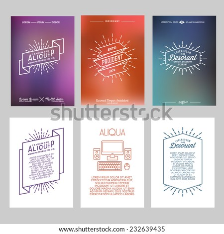 set hipster geometric typography gradient retro flyer , poster with star burst , ribbon , computer  - stock vector