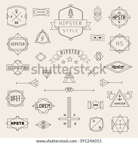 Set Hipster Icons, Logo, Badge, Elements, Frames, Art Deco