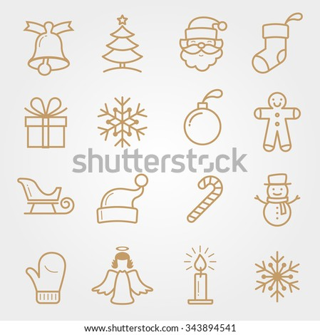 SET Holiday and Christmas Icons - stock vector