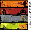 Set horizontal Halloween banners. - stock vector