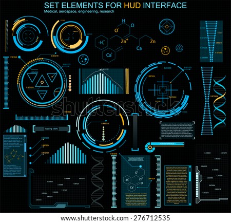 set HUD elements Abstract future, concept vector futuristic blue virtual graphic touch user interface   - stock vector