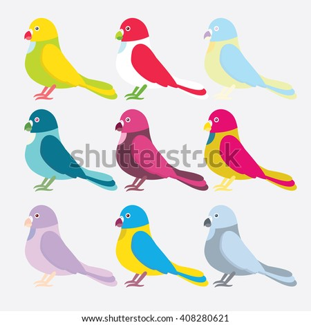 Set (huge collection) of flat vector illustration. Simple minimalistic parrots birds. Cartoon element for Your design, isolated object. Green, yellow, blue, red, pink, grey, lilac, violet, beige - stock vector