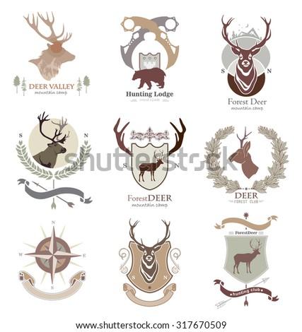 Set hunting club logo, emblem, illustration in vector format for web, print. Labels and Design elements camp, rest, hunting: deer silhouette, bear, horns, heraldic elements. - stock vector
