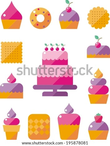 set icon appetizing tasty donut and cake with pink glaze,  fast food
