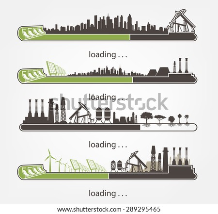 set Icon download from mills and factories against renewable energy - stock vector