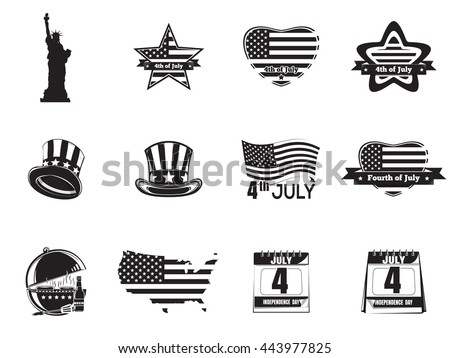 Set icon for Fourth of July. Independence Day icon. Statue of Liberty, calendar with the date July 4, Uncle Sam hat, heart, star shaped American (USA) flag. Vector icon isolated on white background - stock vector