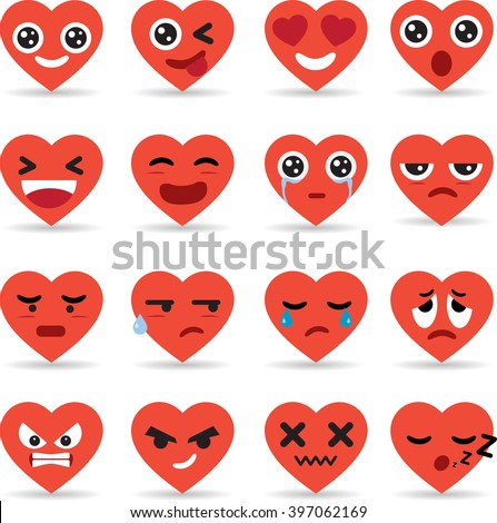 Set icon of hearts Emoticons Collection - stock vector