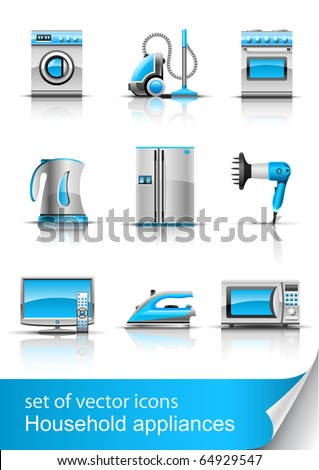set icon of household appliances vector illustration isolated on white background - stock vector
